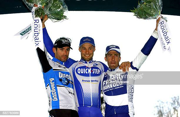103 th UCI Pro Tour Paris Roubaix From left to right George Hincapie Tom Boonen and Juan Antonio flecha on the podium