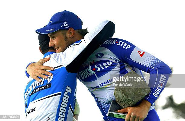 103 th UCI Pro Tour Paris Roubaix George Hincapie congratulates winner Tom Boonen