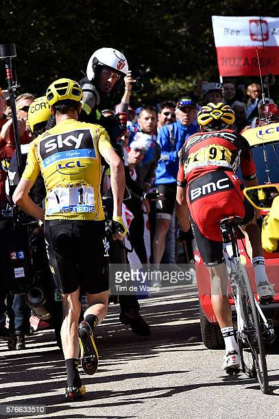 103th Tour de France 2016 / Stage 12 Christopher FROOME Yellow Leader Jersey / Broken Bike / Mechanical Problem / Richie PORTE / Illustration /...