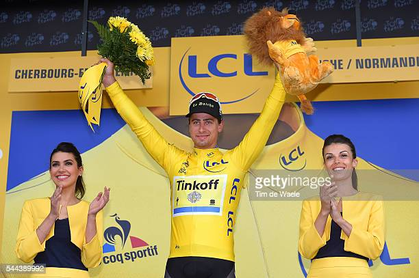 103th Tour de France 2016 / Stage 2 Podium / Peter SAGAN Yellow Leader Jersey / Celebration / Saint-Lo - Cherbourg-en-Cotentin / TDF /