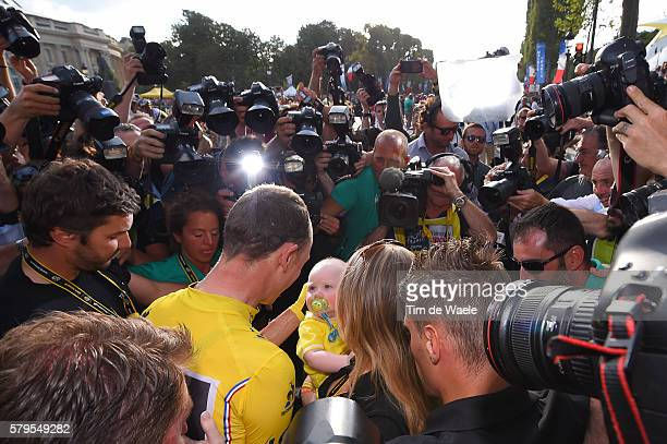 103th Tour de France 2016 / Stage 21 Arrival / Christopher FROOME Yellow Leader Jersey/ Michelle COUND Wife / Kellan FROOME Son/ Celebration /...