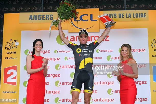 103th Tour de France 2016 / Stage 3 Podium / Marion ROUSSE TV Journalist / Thomas VOECKLER Most Combative Rider Celebration / Granville Angers / TDF /