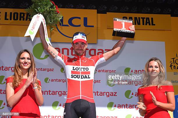 103th Tour de France 2016 / Stage 5 Podium / Thomas DE GENDT Most Combative Rider / Marion ROUSSE TV Journalist / Celebration / Limoges Le Lioran...