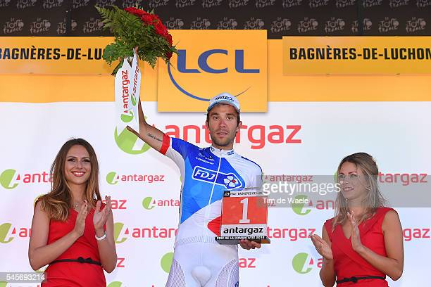 103th Tour de France 2016 / Stage 8 Podium / hibaut PINOT Most Combative Rider /Celebration / Marion ROUSSE TV Journalist / Pau BagneresdeLuchon /...