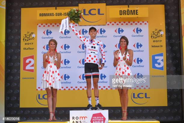 104th Tour de France 2017 / Stage 16 Podium / Warren BARGUIL Polka Dot Mountain Jersey / Celebration / Le Puy en Velay Romans sur Isere / TDF /