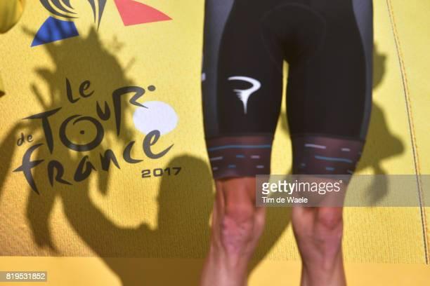 104th Tour de France 2017 / Stage 18 Podium / Warren BARGUIL / Celebration / Illustration / Logo / Legs / Briancon IzoardCol d'Izoard 2360m / TDF /