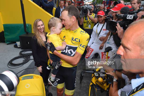 104th Tour de France 2017 / Stage 21 Arrival / Christopher FROOME Yellow Leader Jersey / Kellan FROOME Son / Michelle COUND Wife / Celebration /...