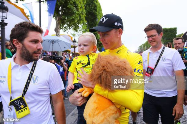 104th Tour de France 2017 / Stage 21 Podium / Christopher FROOME Yellow Leader Jersey / Kellan FROOME Son / Montgeron Paris ChampsElysees / TDF /