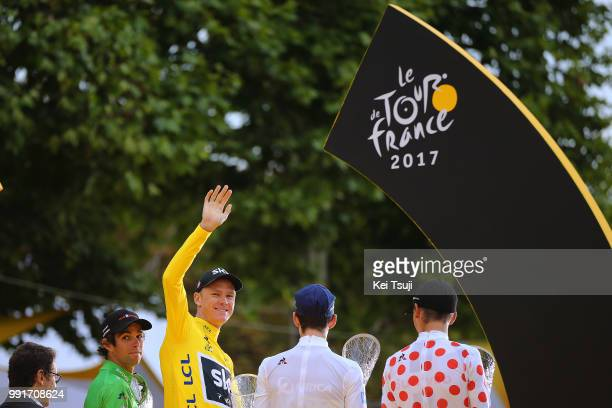 104Th Tour De France 2017 Stage 21Podium Michael Matthews Green Sprint Jersey Christopher Froome Yellow Leader Jersey Simon Yates White Best Young...