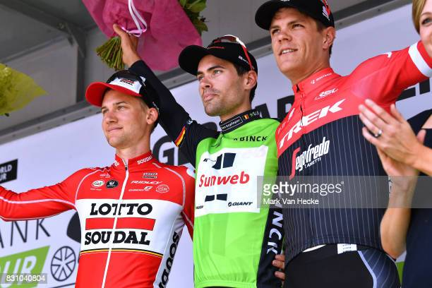 13th BinckBank Tour 2017 / Stage 7 Podium / Tim WELLENS / Tom DUMOULIN Green Leader Jersey / Jasper STUYVEN / Celebration / Essen Geraardsbergen 55m...
