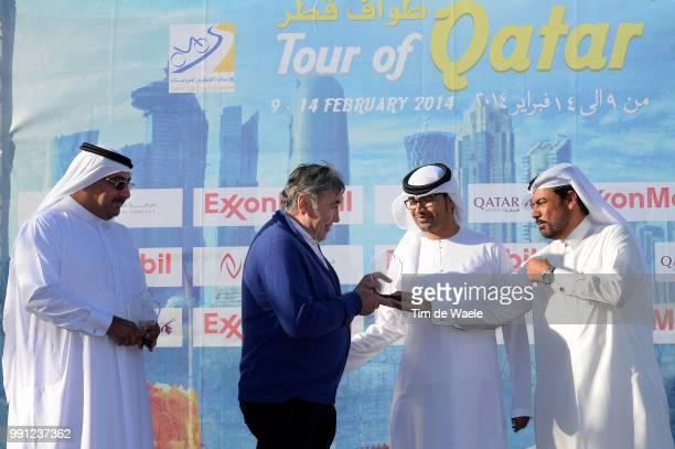 13Th Tour Of Qatar 2014, Stage 4 Podium, Merckx Eddy Race Organiser, Sheikh Khalid Bin Ali Al Thani President Of Qatar Cycling Federation, Dukhan -...