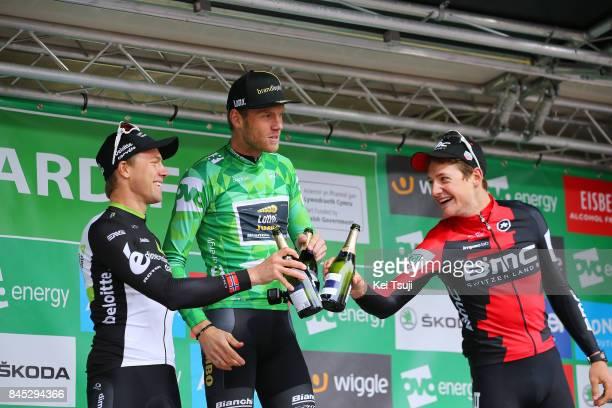 14th Tour of Britain 2017 / Stage 8 Podium / Edvald BOASSON HAGEN / Lars BOOM Green Leader Jersey / Stefan KUNG / Celebration / Champagne / Worcester...