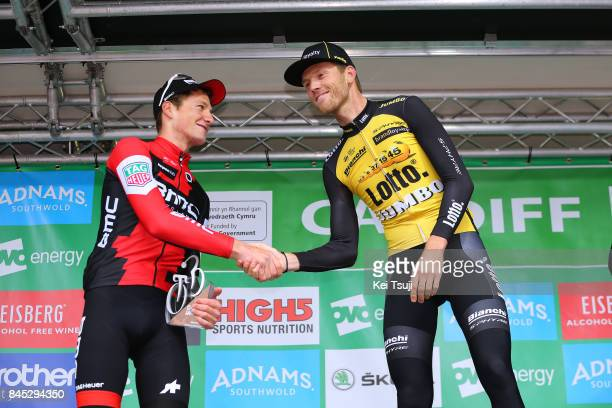 14th Tour of Britain 2017 / Stage 8 Podium / Stefan KUNG / Lars BOOM / Celebration / Worcester Cardiff / OVO Energie / TOB /