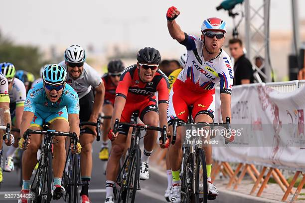 14th Tour of Qatar 2015 / Stage 2 Arrival / KRISTOFF Alexander Celebration Joie Vreugde / VAN AVERMAET Greg / GUARDINI Andrea / BOONEN Tom / Al Wakra...