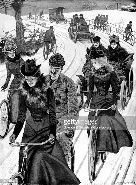 Cycling 1899 Plate taken from Illustrated London News showing men and women cycling in front of couples in motor cars The lyrics of a song about the...