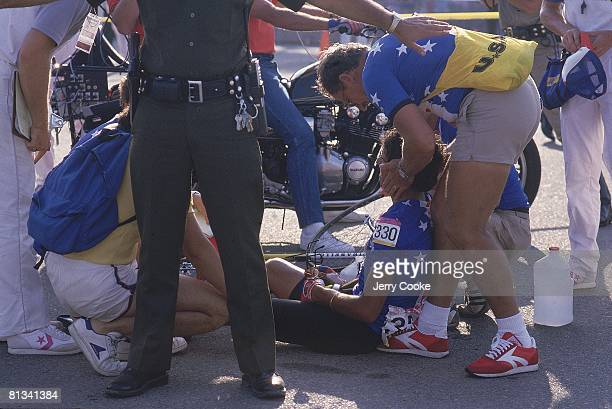 Cycling 1984 Summer Olympics USA Alexi Grewal with injury getting medical attention after winning individual road race final Los Angeles CA...