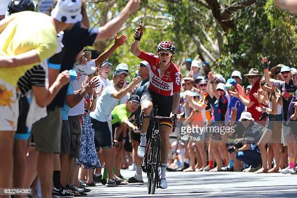 19th Santos Tour Down Under 2017/ Stage 5 - Men Adam HANSEN / Old Willunga Hill / Beer/ Fans / Public / McLaren Vale - Willunga Hill 382m /...