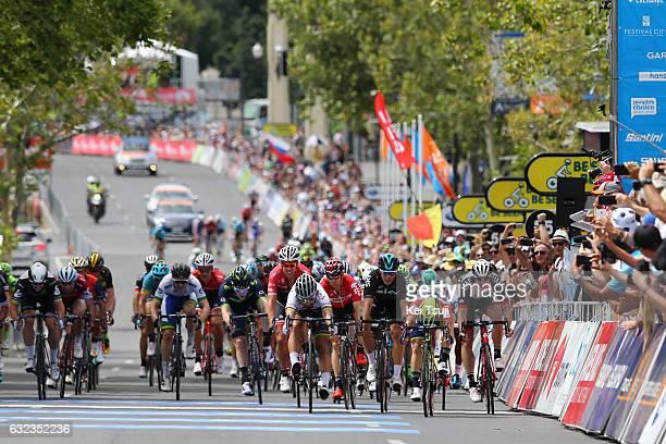 19th Santos Tour Down Under 2017/ Stage 6 - Men Arrival / Sprint / Caleb EWAN Red Sprint Jersey Peter SAGAN / Marko KUMP / Danny VAN POPPEL / Marko...