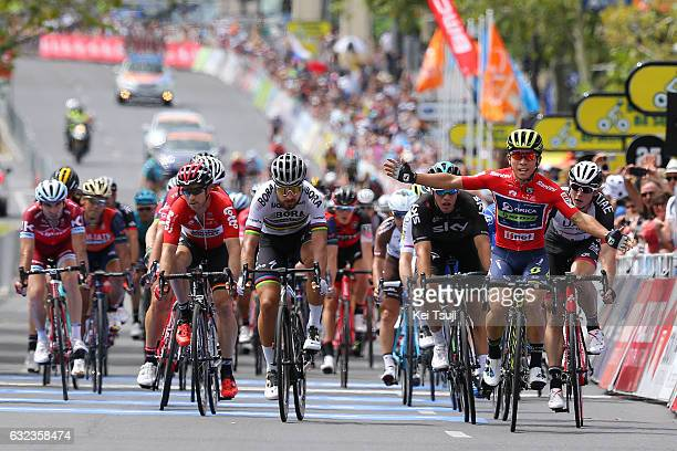 19th Santos Tour Down Under 2017/ Stage 6 - Men Arrival / Sprint / Caleb EWAN Red Sprint Jersey / Celebration / Peter SAGAN / Marko KUMP / Danny VAN...