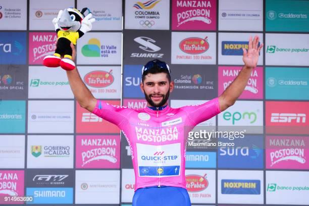 1st Colombia Oro y Paz 2018 / Stage 1 Podium / Fernando Gaviria Rendon Pink Leader Jersey / Celebration / Palmira Palmira /