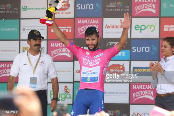 1st Colombia Oro y Paz 2018 / Stage 2 Podium / Fernando Gaviria Rendon Pink Leader Jersey Celebration / Palmira Palmira / Estadio Palmira /