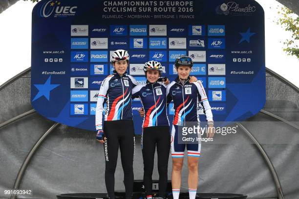 1St European Road Championships 2016 Junior Women'S Road Race Podium Start Team Luxembourg / Claire Faber / Anne Sophie Harsch / Plumelec Plumelec...