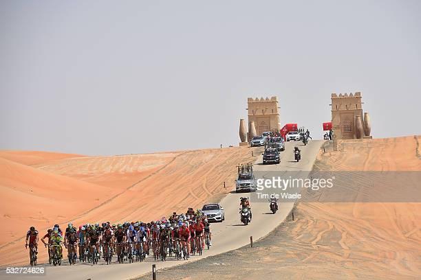 1th Abu Dhabi Tour 2015 / Stage 1 Illustration Illustratie/ Peloton Peleton/ Landscape Paysage/ Desert/ Sand/ Qasr Al Sarab Madinat Zayed / The Adnoc...