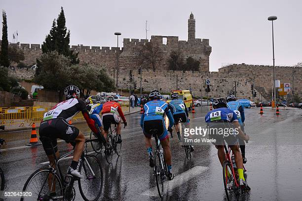 1th Israel Cycling Academy Team / Peter Sagan Illustration Illustratie / Peleton Peloton / Criterium Jeruzalem City Wall / King David Tower / First...