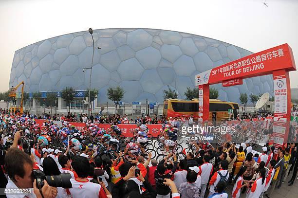 1th Tour Beijing 2011 / Stage 5 Illustration Illustratie / Water Cube Aquatics Center / Peleton Peloton / Public Publiek Spectators Fans Supporters /...