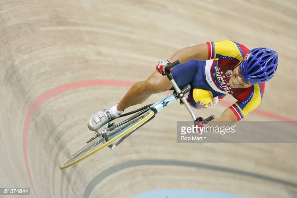 Cycling 2004 Summer Paralympics VEN Victor Marquez in handicapped action during olympic time trials at velodrome Athens GRC 9/19/2004