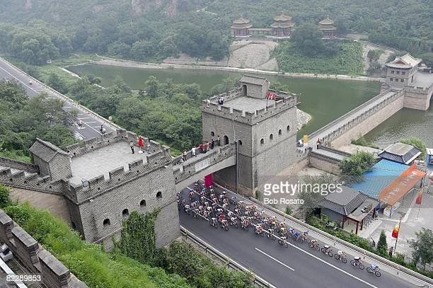 2008 Summer Olympics Aerial view of action at Great Wall of China during Men's Road Cycling Race on Road Cycling Course Juyongguan China 8/9/2008...