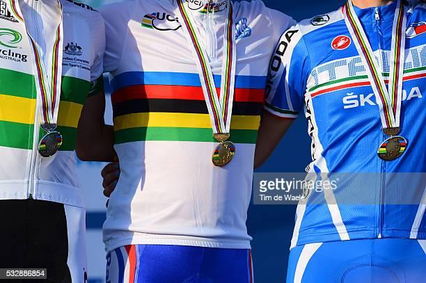 Road World Championships / Elite Women Podium / Rachel NEYLAN Silver Medal / Marianne VOS Gold Medal / Elisa LONGO BORGHINI Bronze Medal /...