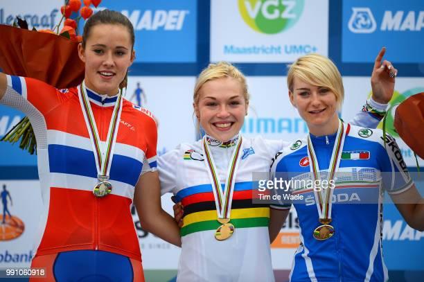 Road World Championships, Junior Women Podium, Eline Brustad Silver Medal, Lucy Garner Gold Medal, Anna Zita Maria Stricker Bronze Medal, Celebration...