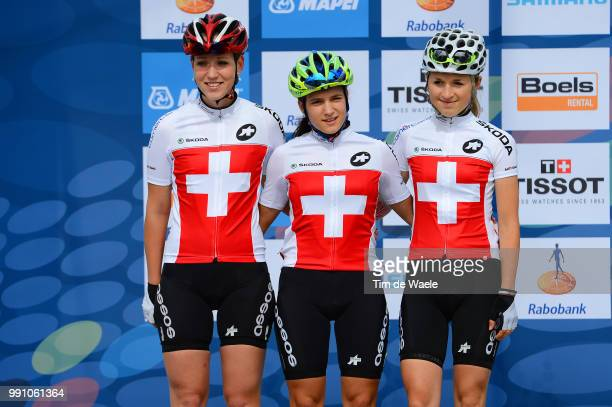 Road World Championships, Junior Women Podium, Team Swiss Suisse / Caroline Baur / Stefanie Bochsler / Ramona Forchini / Valkenburg - Valkenburg /...