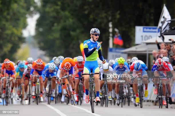 Road World Championships, Junoirs Men Arrival, Matej Mohoric Celebration Joie Vreugde, Caleb Ewan / Josip Rumac / Valkenburg - Valkenburg / Hommes...