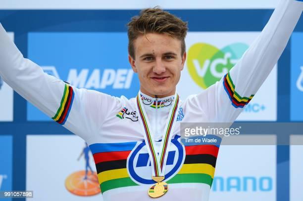 Road World Championships, Tt Men Junoirs Podium, Oskar Svendsen Gold Medal Celebration Joie Vreugde, Landgraaf - Valkenburg / Time Trial Contre La...