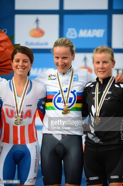 Road World Championships, Tt Women Elite Podium, Evelyn Stevens Silver Medal, Judith Arndt Gold Medal, Linda Melanie Villumsen Bronze Medal,...
