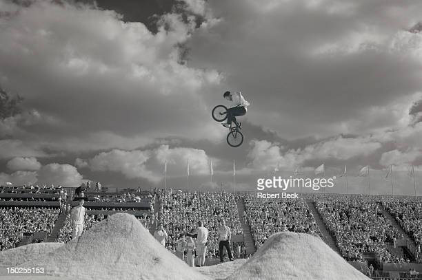 Summer Olympics: Infrared view of exhbition riders performing between races in action during Men's and Women's Semifinals and Finals at BMX Track....
