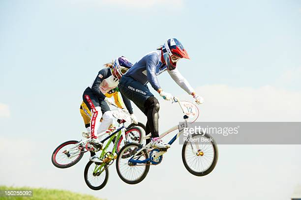 Summer Olympics: USA Alise Post and Great Britain Shanaze Reade in action during Women's Semifinals at BMX Track. London, United Kingdom 8/10/2012...