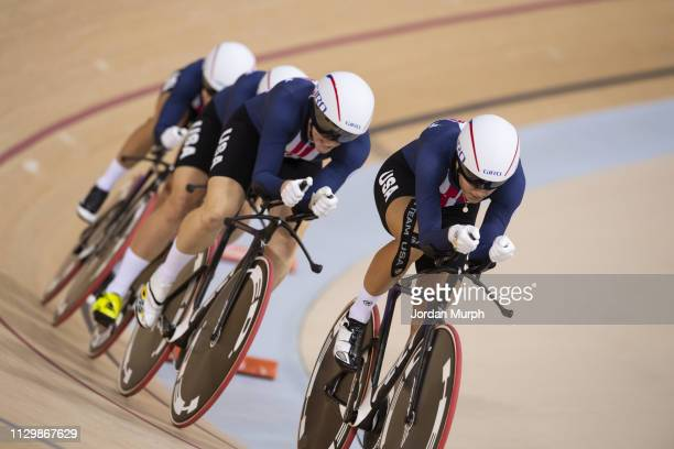 Summer Olympics: Team USA Sarah Hammer, Kelly Catlin, Chloe Dygert, and Jennifer Valente in action during Women's Team Pursuit Finals at Rio Olympic...