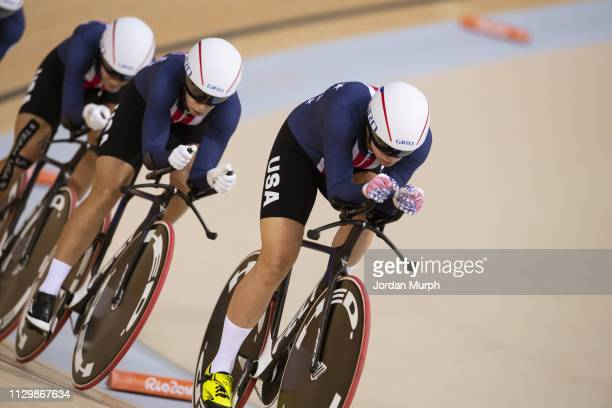 2016 Summer Olympics Team USA Sarah Hammer Kelly Catlin Chloe Dygert and Jennifer Valente in action during Women's Team Pursuit Finals at Rio Olympic...