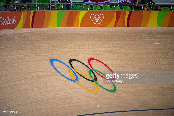 2016 Summer Olympics View of Olympic rings logo on track at Rio Olympic Velodrome Rio de Janeiro Brazil 8/12/2016 CREDIT Joe McNally