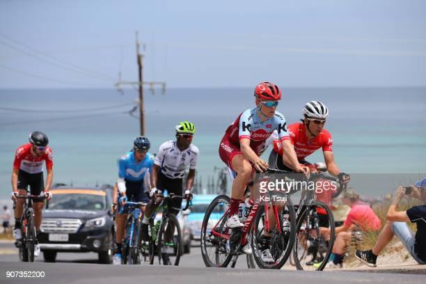 20th Santos Tour Down Under 2018 / Stage 5 Mads WURTZ SCHMIDT / Nickolas DLAMINI Polka Dot Mountain Jersey / Fumiyuki BEPPU / Thomas DE GENDT / Main...