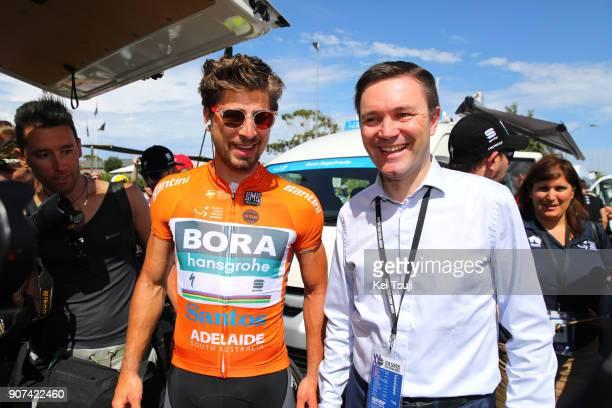 20th Santos Tour Down Under 2018 / Stage 5 Start / Peter SAGAN Orange Leader Jersey / David LAPPARTIENT UCI President / Main Road McLaren Vale...