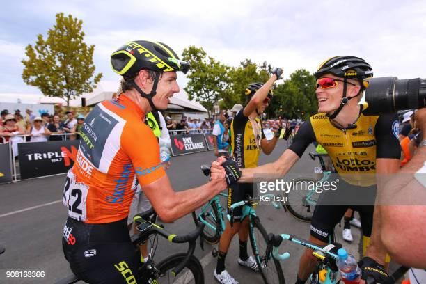 20th Santos Tour Down Under 2018 / Stage 6 Arrival / Daryl IMPEY Orange Leader Jersey / Robert GESINK / Celebration / King William Street Adelaide...