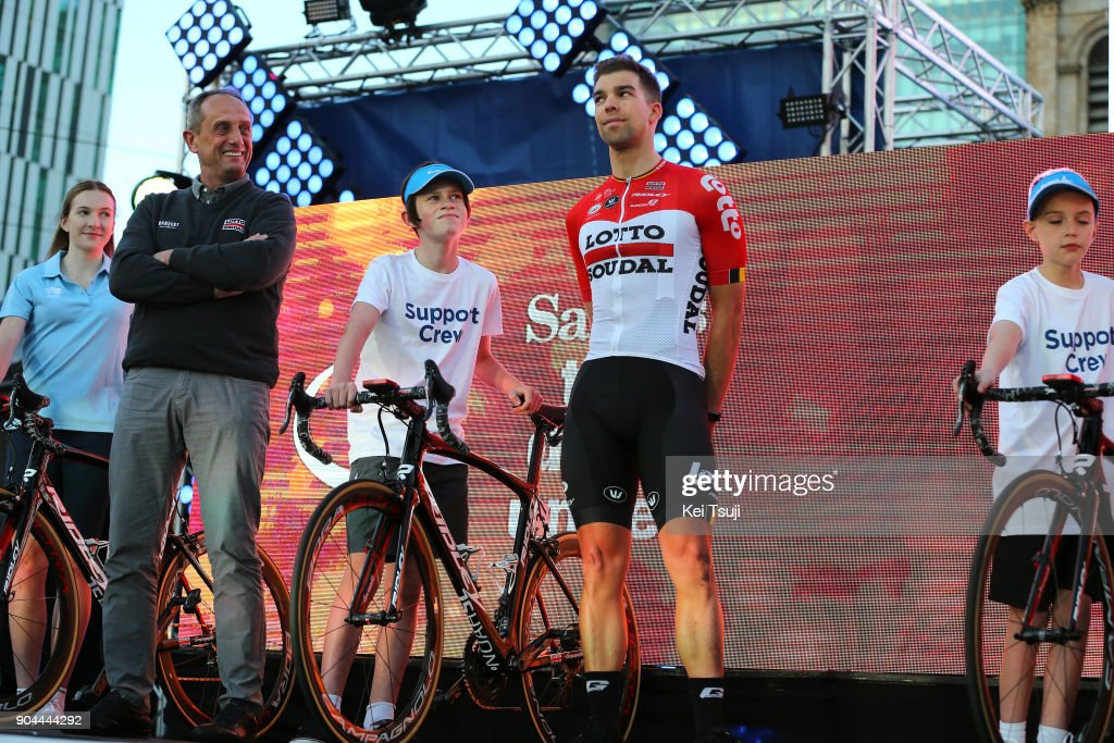 20th Santos Tour Down Under 2018 / Team Presentation Jens DEBUSSCHERE (BEL)/ Herman FRISON (BEL) Sportsdirector / Team Lotto Soudal (BEL)/ Adelaide Tour Village / Team Presentation / TDU /