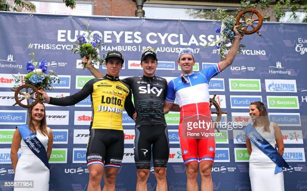 22nd Euroeyes Cyclassics 2017 Podium / Dylan GROENEWEGEN / Elia VIVIANI / Arnaud DEMARE / Celebration / Hamburg Hamburg / Vattenfall Cyclassics /