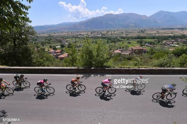 28th Tour of Italy 2017 / Women / Stage 9 Landscape / Peloton / Anna VAN DER BREGGEN Pink leaders jersey / Palinuro Polla 444m / Women / Giro Rosa /