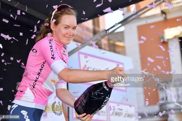 28th Tour of Italy 2017 / Women / Stage 9 Podium / Anna VAN DER BREGGEN Pink leaders Jersey Celebration / Champagne / Palinuro Polla 444m / Women /...