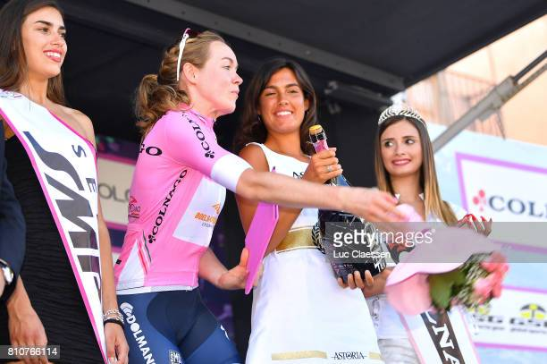 28th Tour of Italy 2017 / Women / Stage 9 Podium / Anna VAN DER BREGGEN Pink leaders Jersey Celebration / Miss Hostess / Palinuro Polla 444m / Women...